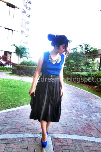 blue Forever 21 top - black ukay skirt - blue Master Mind pumps
