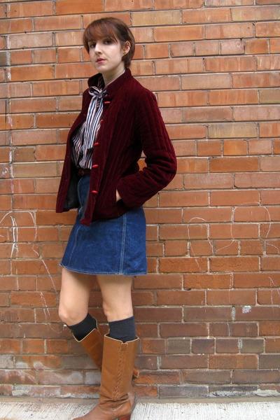 vintage jacket - vintage skirt - vintage blouse - vintage boots
