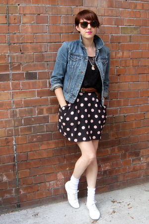 black American Apparel shirt - H&M skirt - blue Gap jacket - vintage accessories