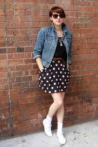 black American Apparel shirt - H&M skirt - blue Gap jacket - vintage accessories