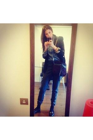 black Topshop shoes - black Zara blazer - Levis shirt - brick red Zara bag