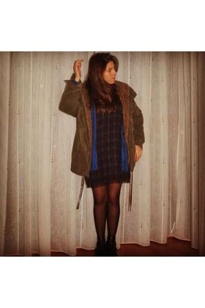 Zara boots - Zara dress - Zara coat - blue cardigan