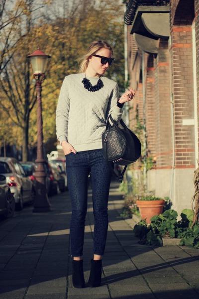 black Zara boots - silver asos sweater - black Alexander Wang bag