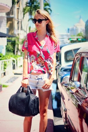hot pink maison scotch shirt - black Alexander Wang bag