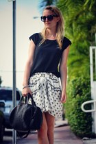 black Alexander Wang bag - white Zara skirt - black maison scotch top