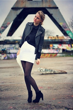 white Zara skirt - black asos jacket