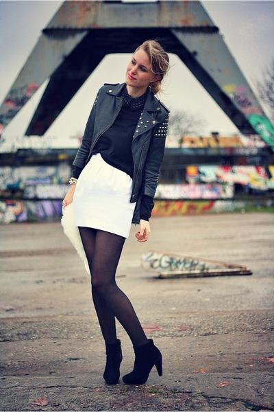 white Zara skirt - black asos jacket