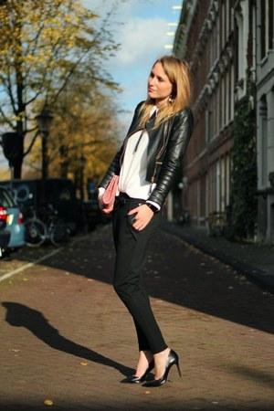 black Zara jacket - black Zara heels