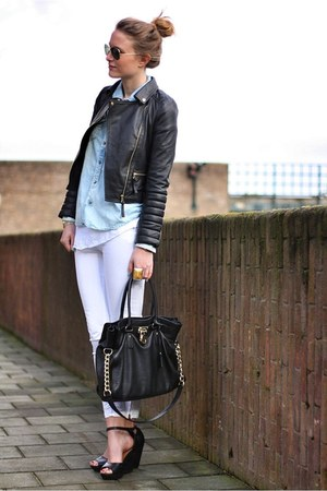 black Zara jacket - black Michael Kors bag - white Zara pants
