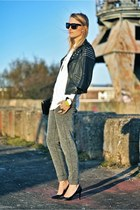 heather gray maison scotch pants - black asos jacket