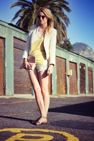 light pink American Apparel bag - cream Zara jacket