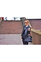 black Zara jacket - black Michael Kors bag - black Zara skirt