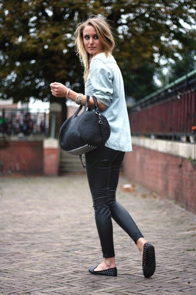 light blue H&M shirt - black Alexander Wang bag - black H&M pants