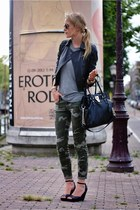 army green Zara jeans - black Zara jacket - black Michael Kors bag