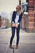 navy H&M blazer - dark khaki Zara bag - navy Forever 21 pants