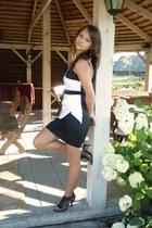 white White and Black dress - black heels