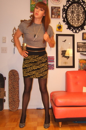 fckg awsm skirt - American Apparel t-shirt - H&M belt - rat pack necklace