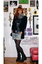 blazer - - vest - Levis shorts - H&M scarf - boots