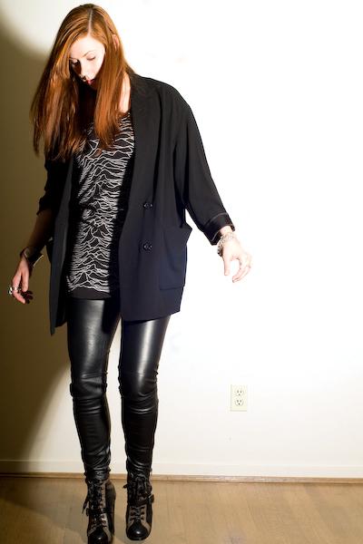 black wilfred blazer - black Joy Division top - black H&M pants - black Marc by