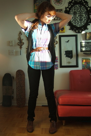 thrifted shirt - Cheap Monday jeans - forever 21 vest - Jeffrey Campbell