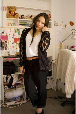 black cardigan - black pants
