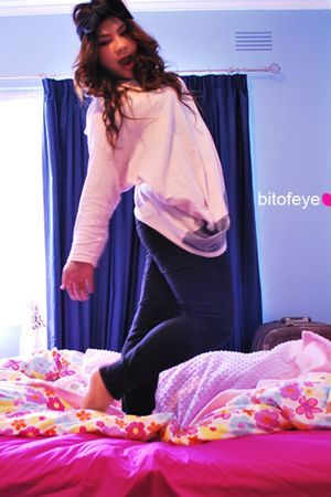 pink dress - black jeans