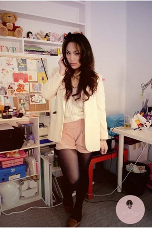 light pink shorts - ivory blazer - white cardigan