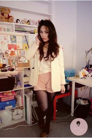 light pink shorts - ivory blazer - white cardigan