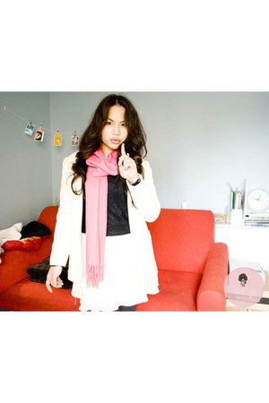pink scarf - ivory blazer - black top - light pink skirt