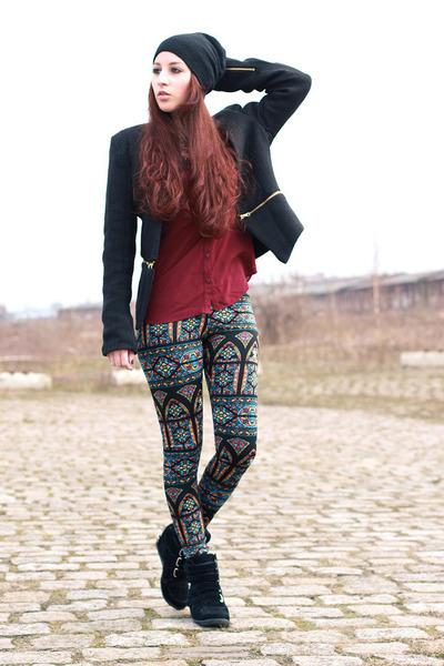 black Primark hat - black zipper Sheinside jacket - brick red Primark blouse