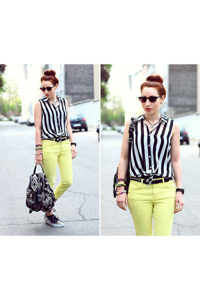 Deena & Ozzy bag - pants - stripes Sheinside blouse - Vans sneakers