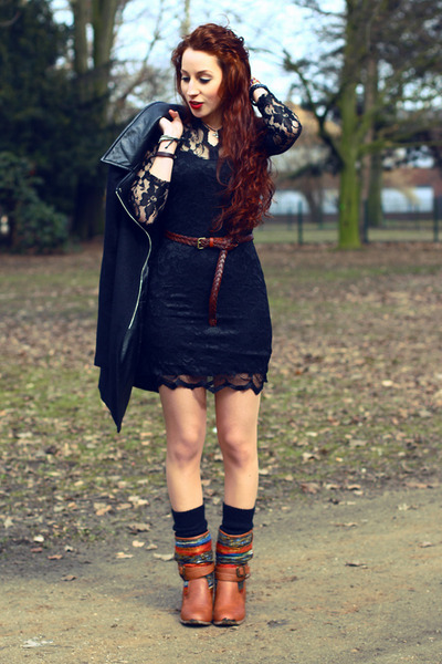 black lace dress - tawny Primark boots - black coat