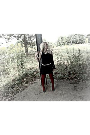 black Bebe dress - red tights - blue Forever 21 top - black Charlotte Russe shoe