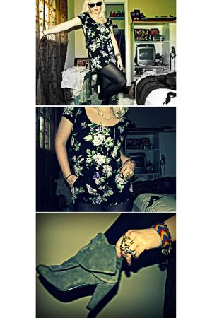 black Charlotte Russe suit - silver Aldo boots - black Ray Ban sunglasses