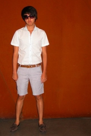 ben sherman shirt - Urban Outfitters belt - 24 Standard shorts - Cole Haan shoes
