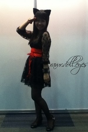 black lace dress dress - red Korean Botique belt - black ribbon Payless wedges