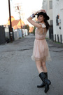 Pink-rodarte-x-target-dress-black-vintage-hat-black-frye-boots
