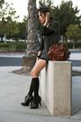 Green-vena-cava-jacket-brown-vintage-shorts-black-burberry-boots-black-h-m