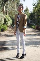 beige Ralph Lauren blazer - silver Kill City jeans - pink H&M top - black Miu Mi