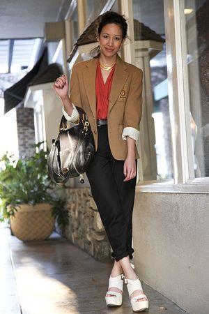 white wedges vera wang shoes - beige vintage Ralph Lauren blazer
