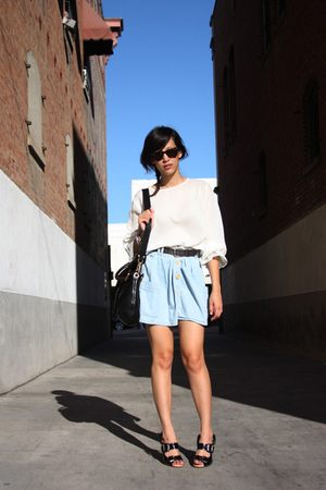blue Urban Outfitters shirt - black strappy Dries Van Noten shoes