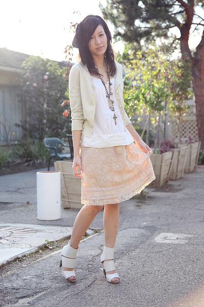 pink Corey Lynn Calter skirt - white FCUK top - beige Beth Bowley cardigan - whi