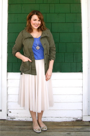 tan Gap flats - forest green Gap jacket - peach H&M skirt - blue Zara t-shirt