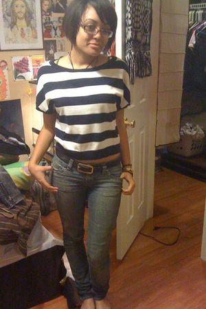blue Forever 21 shirt - blue Wet Seal jeans - brown Thrift Store belt