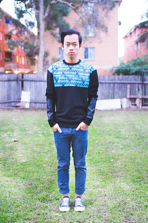 navy cotton on jeans - black Taxonomy sweatshirt