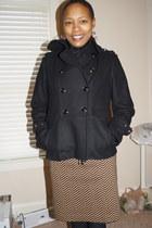 black Pea Coat jacket - Wool mini skirt - black Esprit blouse