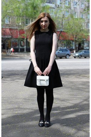 black H&M dress - black Zara jacket - white Topshop bag