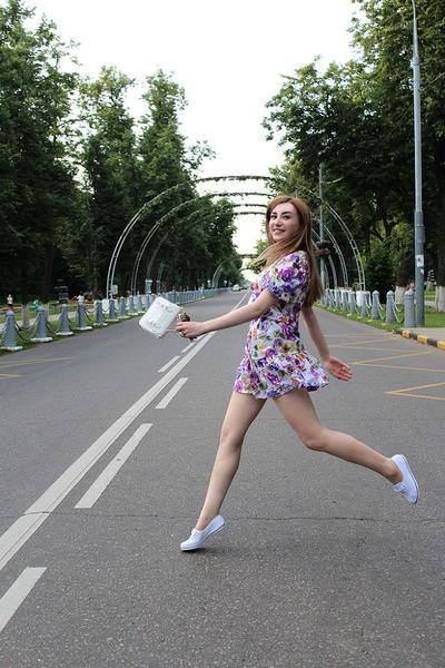 white new look shoes - amethyst Mari Axel dress - white Topshop bag