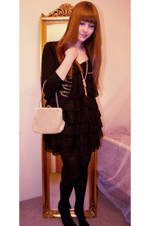 black Zara dress - black H&M cardigan - gold FashionClub necklace - gold Thrift