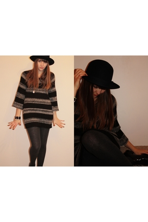 hat - sweater - necklace - - leggings